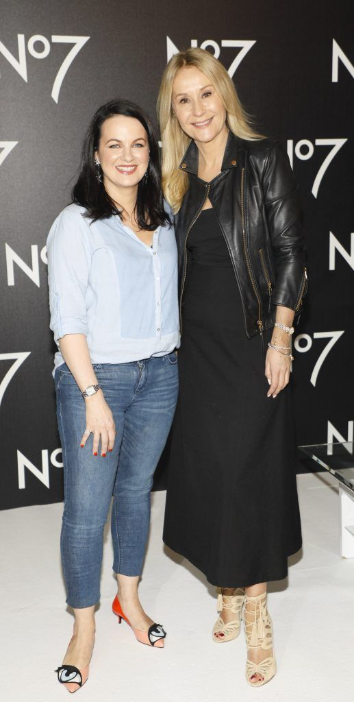 Triona McCarthy and Nadine Baggott at the launch of No7 Laboratories and No7 Laboratories Line Correcting Booster Serum at 25 Fitzwilliam Place. Photo Kieran Harnett