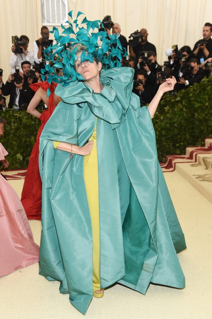 NEW YORK, NY - MAY 07:  Frances McDormand attends the Heavenly Bodies: Fashion & The Catholic Imagination Costume Institute Gala at The Metropolitan Museum of Art on May 7, 2018 in New York City.  (Photo by Jamie McCarthy/Getty Images)