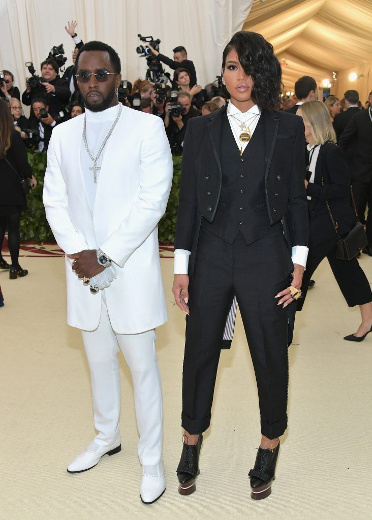 """NEW YORK, NY - MAY 07:  Sean """"Diddy"""" Combs and Cassie attends the Heavenly Bodies: Fashion & The Catholic Imagination Costume Institute Gala at The Metropolitan Museum of Art on May 7, 2018 in New York City.  (Photo by Neilson Barnard/Getty Images)"""