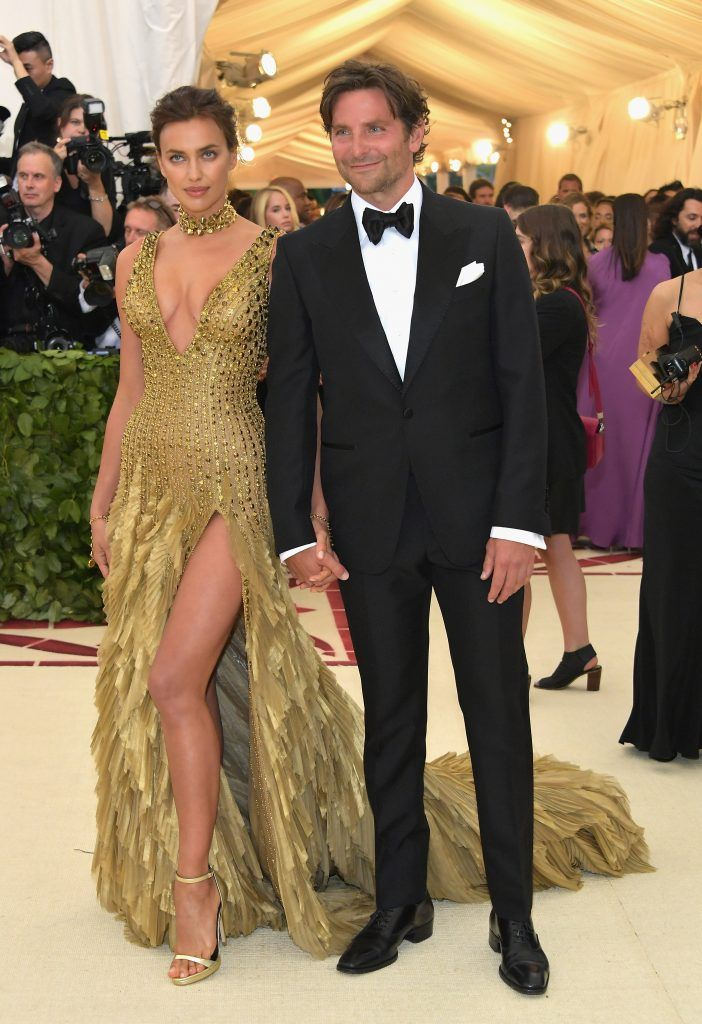 NEW YORK, NY - MAY 07:  Irina Shayk and Bradley Cooper attend the Heavenly Bodies: Fashion & The Catholic Imagination Costume Institute Gala at The Metropolitan Museum of Art on May 7, 2018 in New York City.  (Photo by Neilson Barnard/Getty Images)