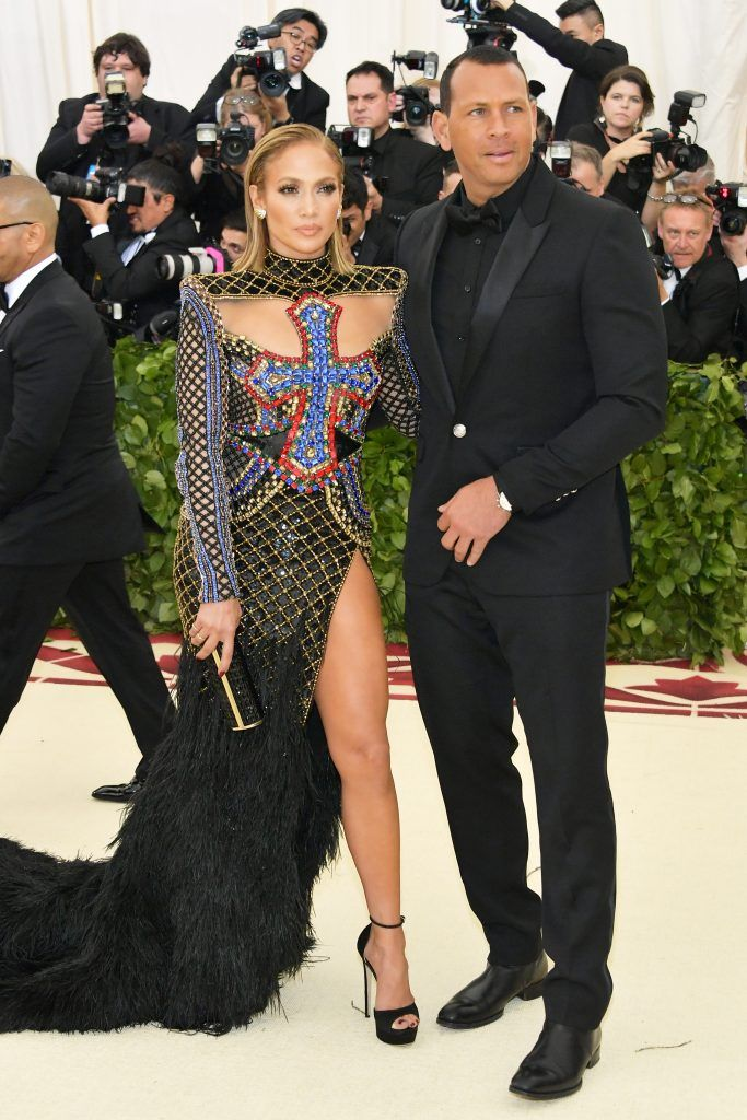 NEW YORK, NY - MAY 07:  Jennifer Lopez and Alex Rodriguez attend the Heavenly Bodies: Fashion & The Catholic Imagination Costume Institute Gala at The Metropolitan Museum of Art on May 7, 2018 in New York City.  (Photo by Neilson Barnard/Getty Images)