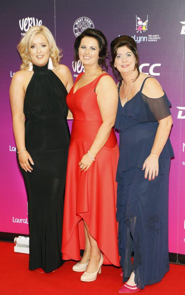 Leanne McDonagh, Muireann Aherne and Fiona Rock at the third annual LauraLynn Heroes Ball at Dublin's InterContinental Hotel, May 12th 2018. Photo: Kieran Harnett