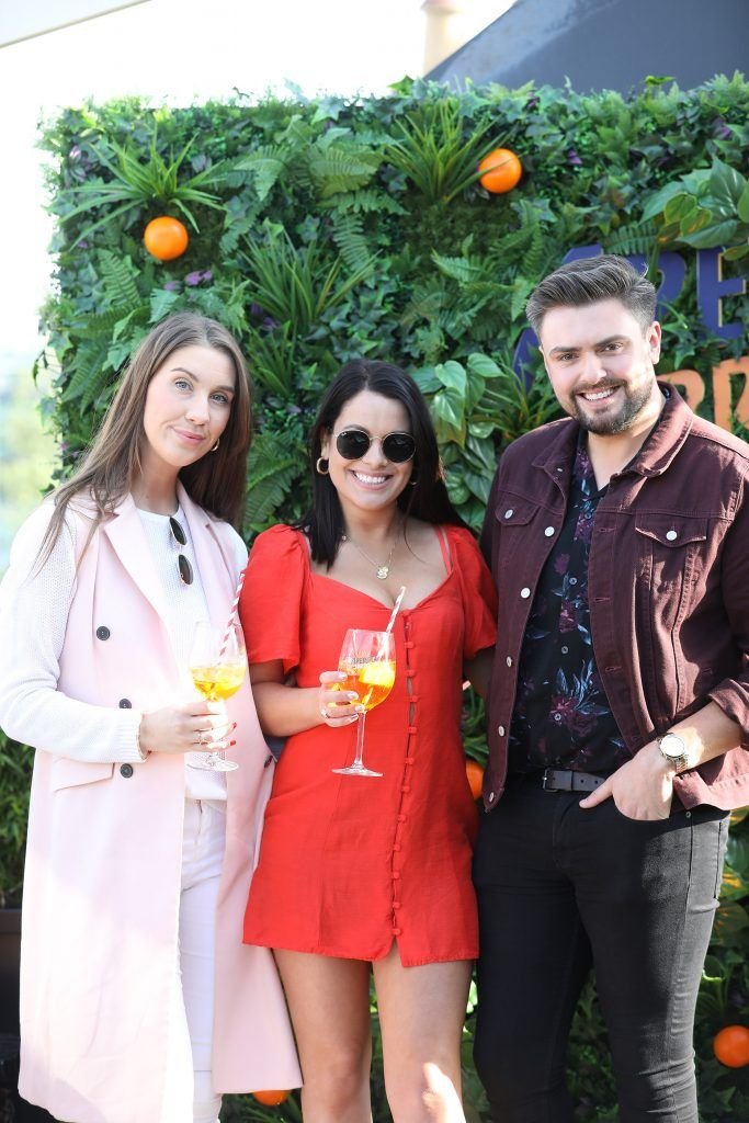 Clementine McNeice, Michelle Mc Grath and James Patrice pictured as Aperol Spritz, Italy's favourite aperitif, unveiled a new home in Dublin, Terrazza Aperol at Sophie's. Photo by Julien Behal