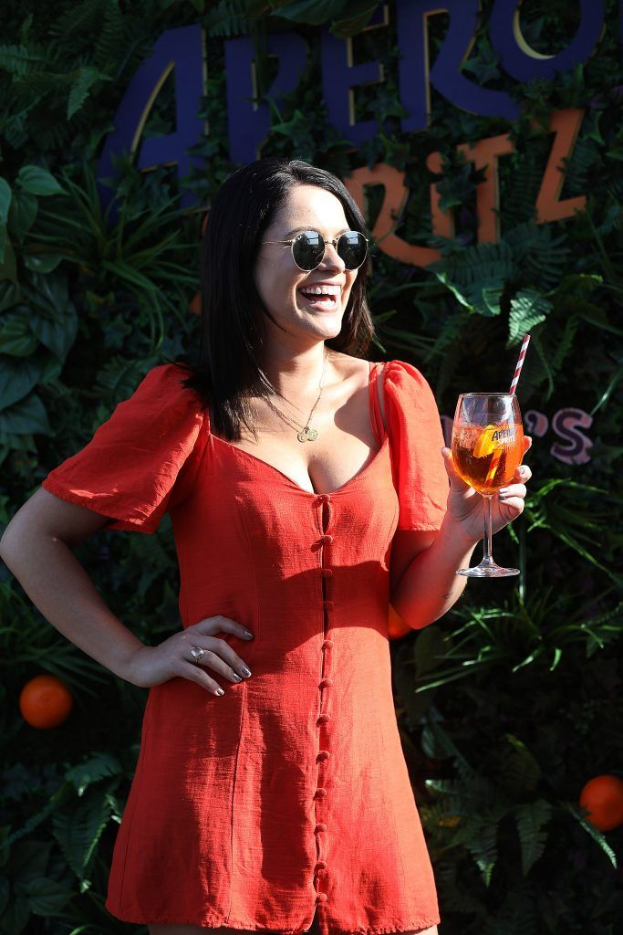 Michelle Mc Grath pictured as Aperol Spritz, Italy's favourite aperitif, unveiled a new home in Dublin, Terrazza Aperol at Sophie's. Photo by Julien Behal