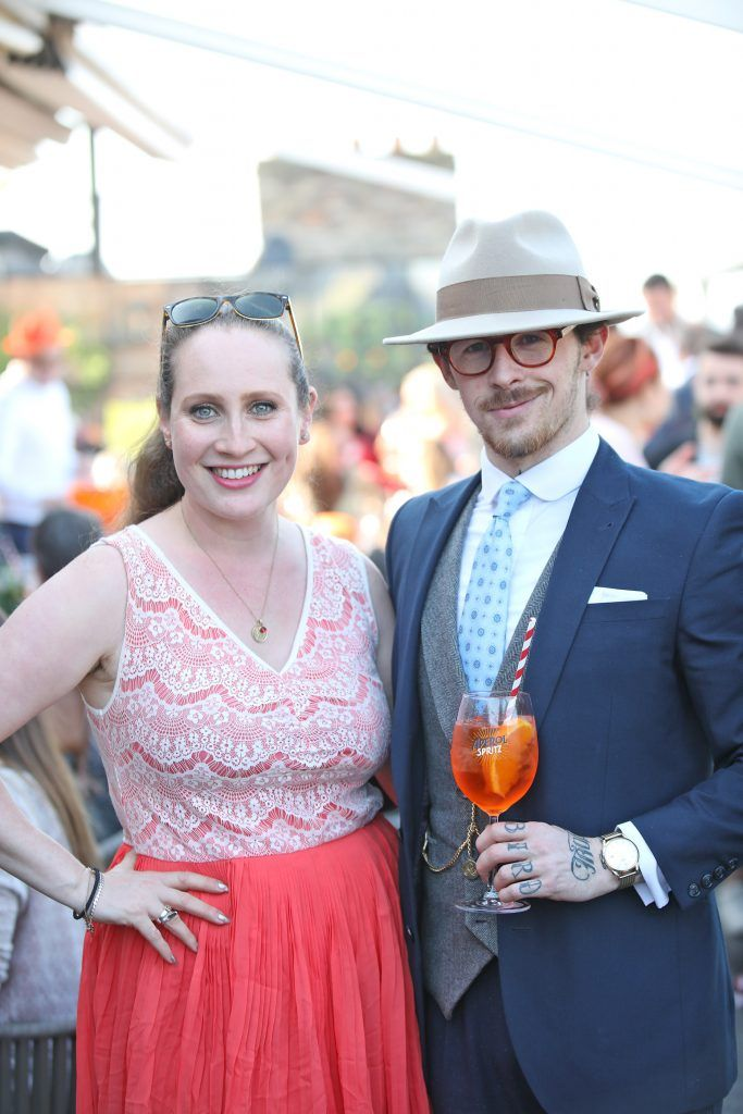 Sonia Harris and Damian Broderick pictured as Aperol Spritz, Italy's favourite aperitif, unveiled a new home in Dublin, Terrazza Aperol at Sophie's. Photo by Julien Behal
