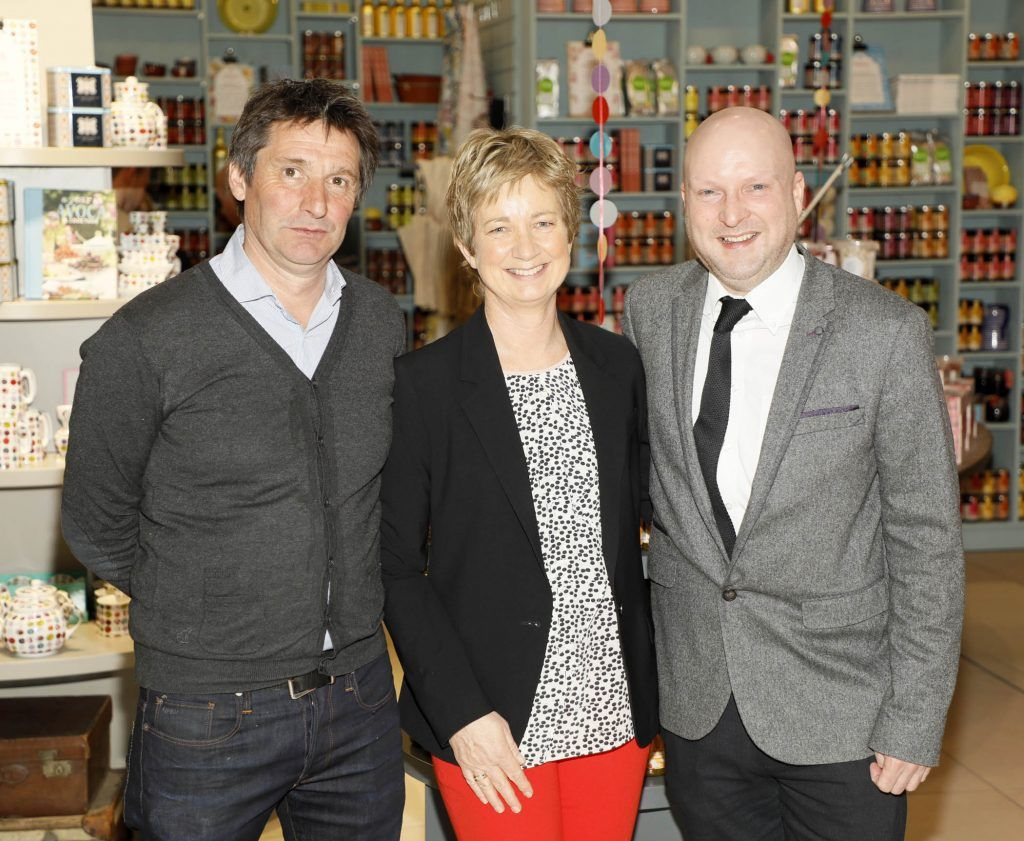 Ivan Pratt, Siobhan O'Leary and Paul Hunnisett at the official opening of AVOCA in Terminal 2 at Dublin Airport. Photo Kieran Harnett