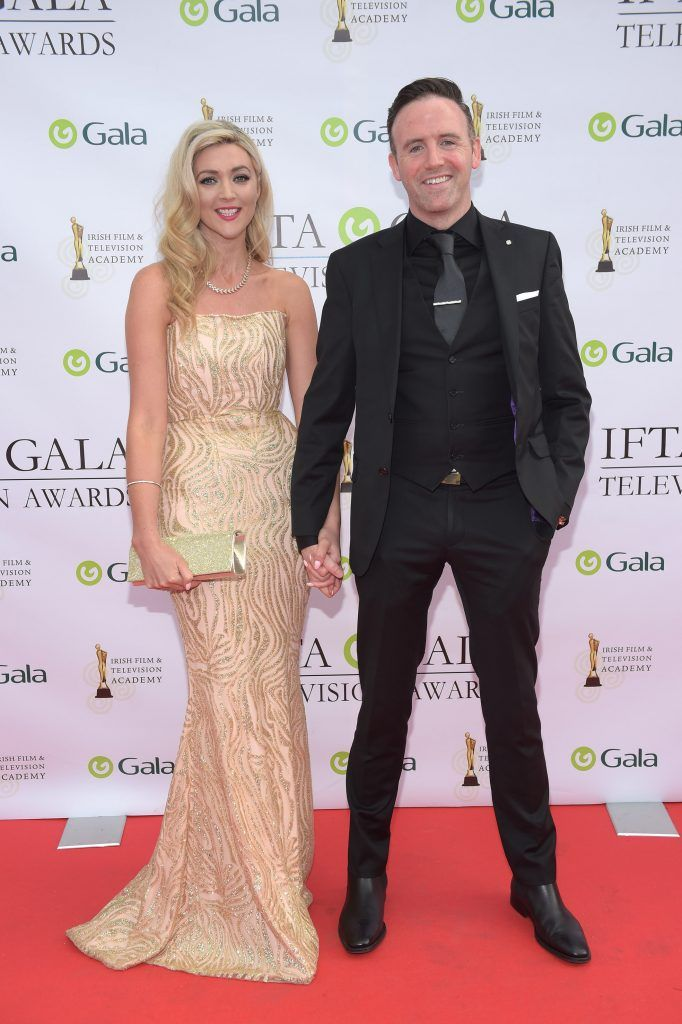 Jenny Dixon and Tom Neville arriving on the red carpet for the IFTA Gala Television Awards 2018 at the RDS. Photo by Michael Chester