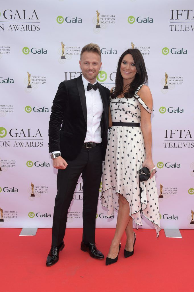 Nicky Byrne and his wife Georgina arriving on the red carpet for the IFTA Gala Television Awards 2018 at the RDS. Photo by Michael Chester