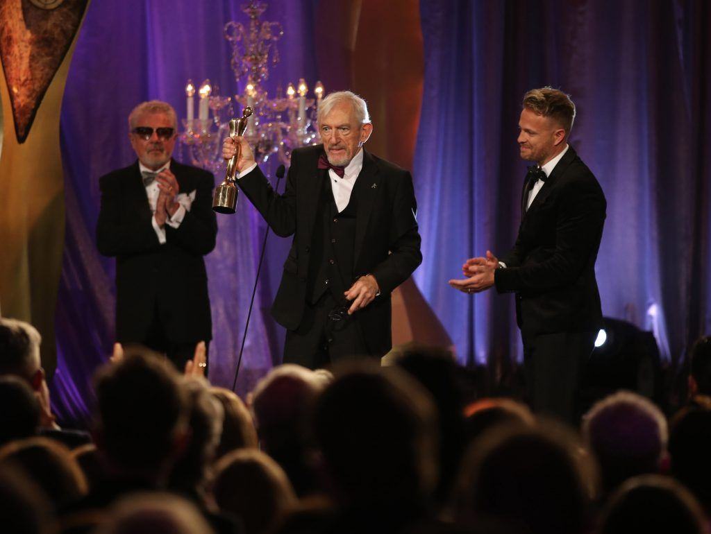 Shay Healy who received a Lifetime Achievement Award on stage with John McColgan and Nicky Byrne at the IFTA Gala Television Awards 2018 at the RDS Dublin. Photo by Michael Chester