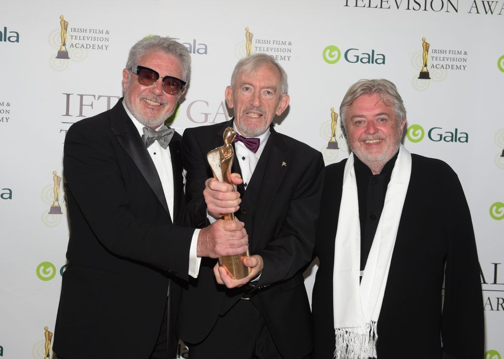 Shay Healy who received a Lifetime Achievement Award with John McColgan and Bill Whelan pictured at the IFTA Gala Television Awards 2018 at the RDS Dublin. Photo by Michael Chester