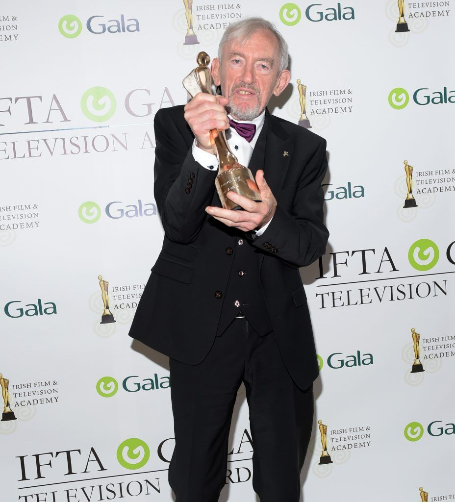 Shay Healy who received a Lifetime Achievement Award pictured at the IFTA Gala Television Awards 2018 at the RDS Dublin. Photo by Michael Chester