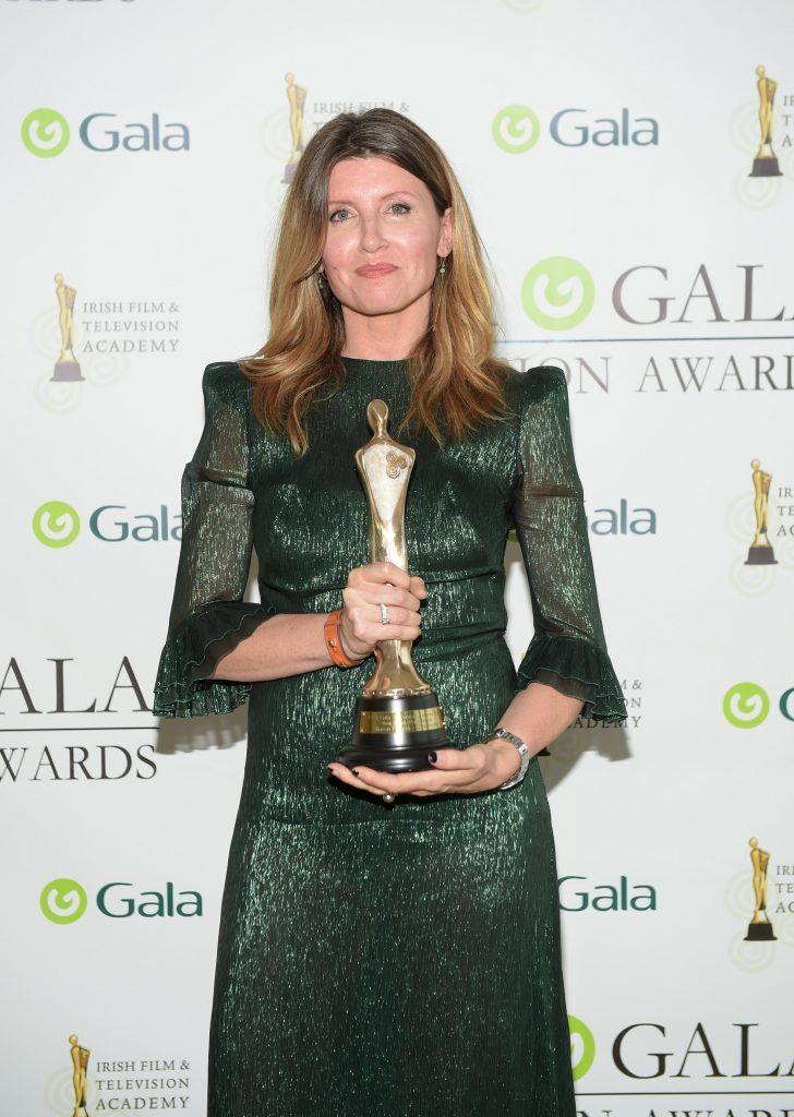 Sharon Horgan who won the Female Performance Award at the IFTA Gala Television Awards 2018 at the RDS Dublin. Photo by Michael Chester