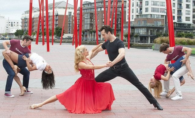 Limbering Up! The talented cast of the record breaking musical Dirty Dancing-The Classic Story on Stage danced out onto Grand Canal Square to showcase what audiences can expect from this smash hit show which returns to Dublin for three weeks.   Pic Patrick O'Leary/Brian McEvoy