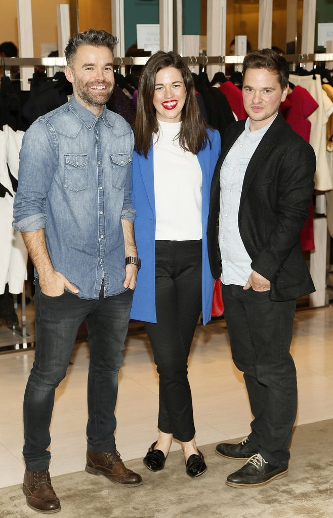 Andrew Brennan, Aisling Ahern and Sean Byrne at the launch of the 4th Irish Designers CREATE in Brown Thomas Dublin-photo Kieran Harnett