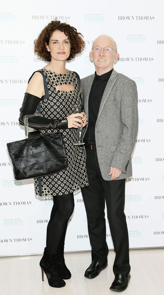 Helen Cody and Richard Lewis at the launch of the 4th Irish Designers CREATE in Brown Thomas Dublin-photo Kieran Harnett
