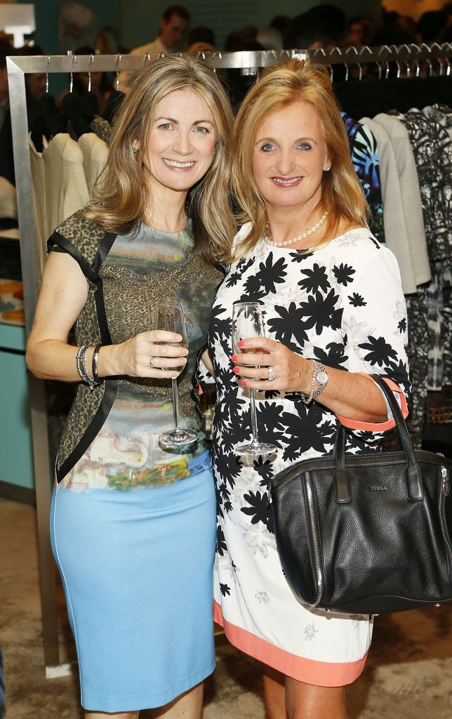 Celine Magill and Sandra Walsh at the launch of the 4th Irish Designers CREATE in Brown Thomas Dublin-photo Kieran Harnett