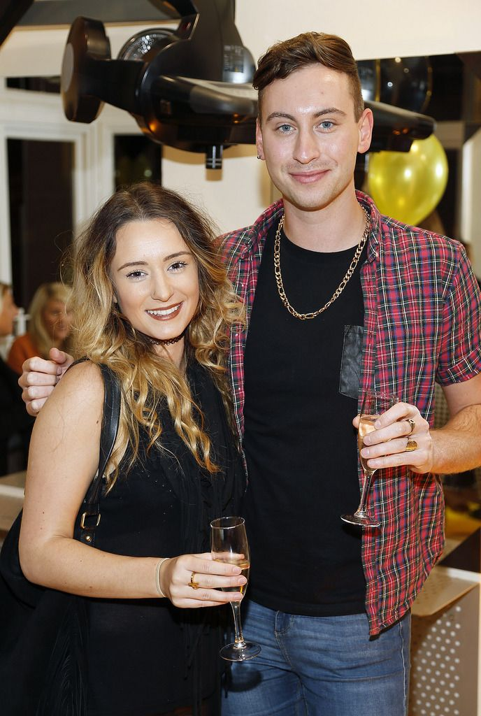 Claire Foran and Dean Ikonics at the Robert Chambers 40th anniversary celebrations at their newly refurbished salon on Grafton Street-photo Kieran Harnett