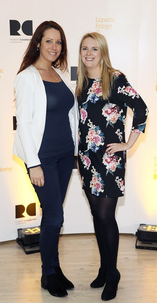Janelle Cooper and Maria Doherty at the Robert Chambers 40th anniversary celebrations at their newly refurbished salon on Grafton Street-photo Kieran Harnett