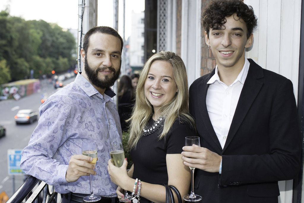 Jaime Morellia & Alvaro Rodruigez & Fatima Rivas pictured at the launch of the Cliff Town House Oyster Festival on Stephen's Green D2. Photo: Anthony Woods.