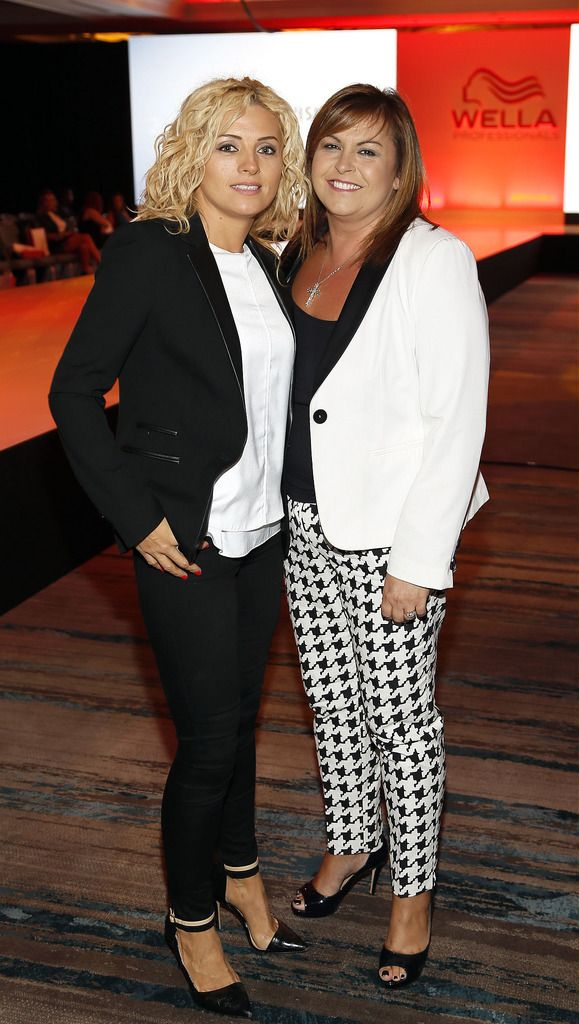 Sonia Coss and Tina Cassidy at the Wella TrendVision Awards show 2014 held in the Double Tree Hilton Hotel Dublin-photo Kieran Harnett