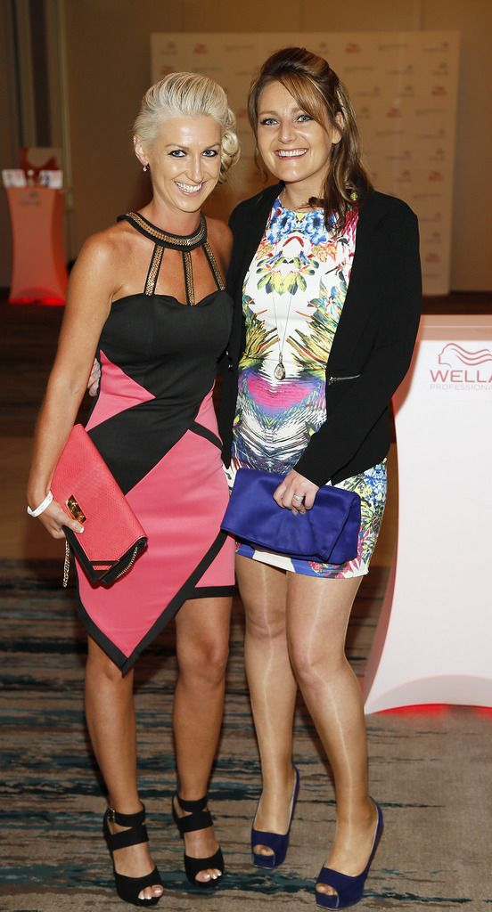Shelley Walsh and Angela Roche at the Wella Professionals TrendVision Award 2014 show at the DoubleTree by Hilton-photo Kieran Harnett