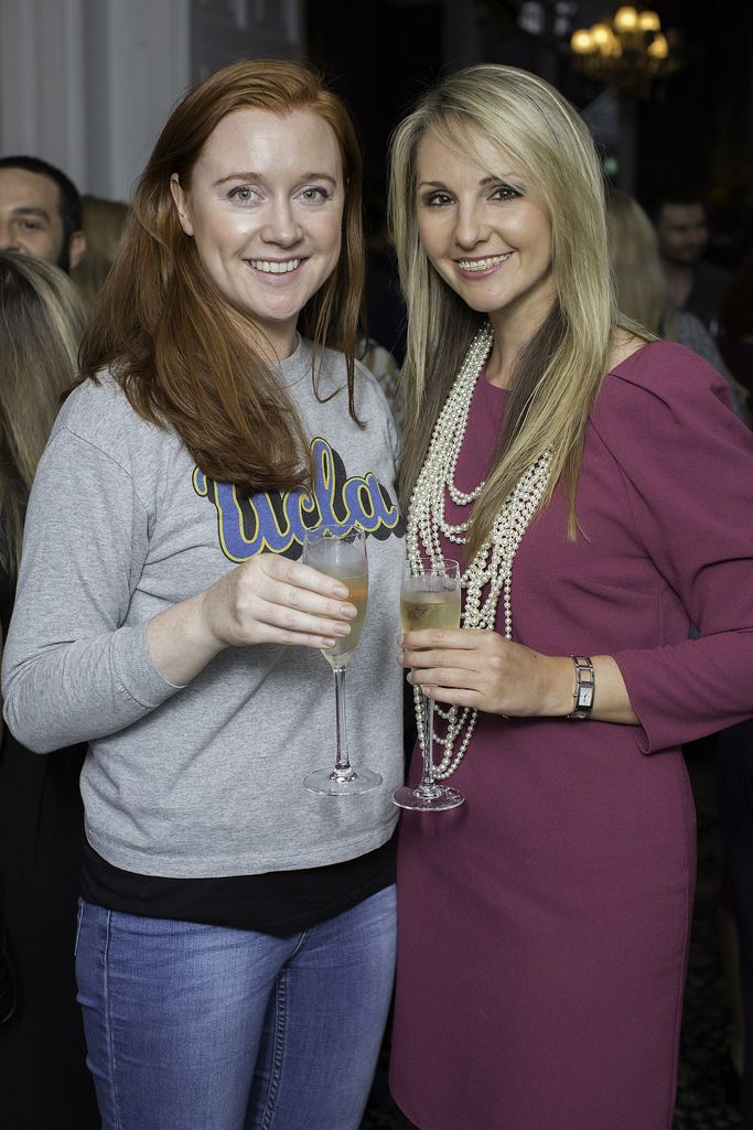 Michelle O'Brien & Niamh Wade pictured at the launch of the Cliff Town House Oyster Festival on Stephen's Green D2. Photo: Anthony Woods.