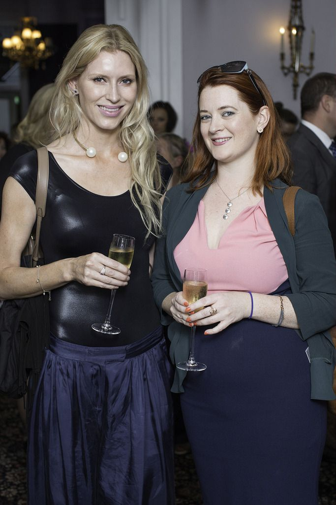 Gina Galligan & Carly Halpin pictured at the launch of the Cliff Town House Oyster Festival on Stephen's Green D2. Photo: Anthony Woods.