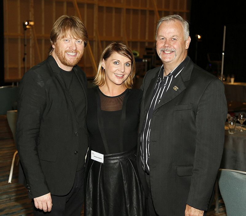 Eoin Wright, Frankie Doran and Gerry Hynes at the Wella Professionals TrendVision Award 2014 show at the DoubleTree by Hilton-photo Kieran Harnett