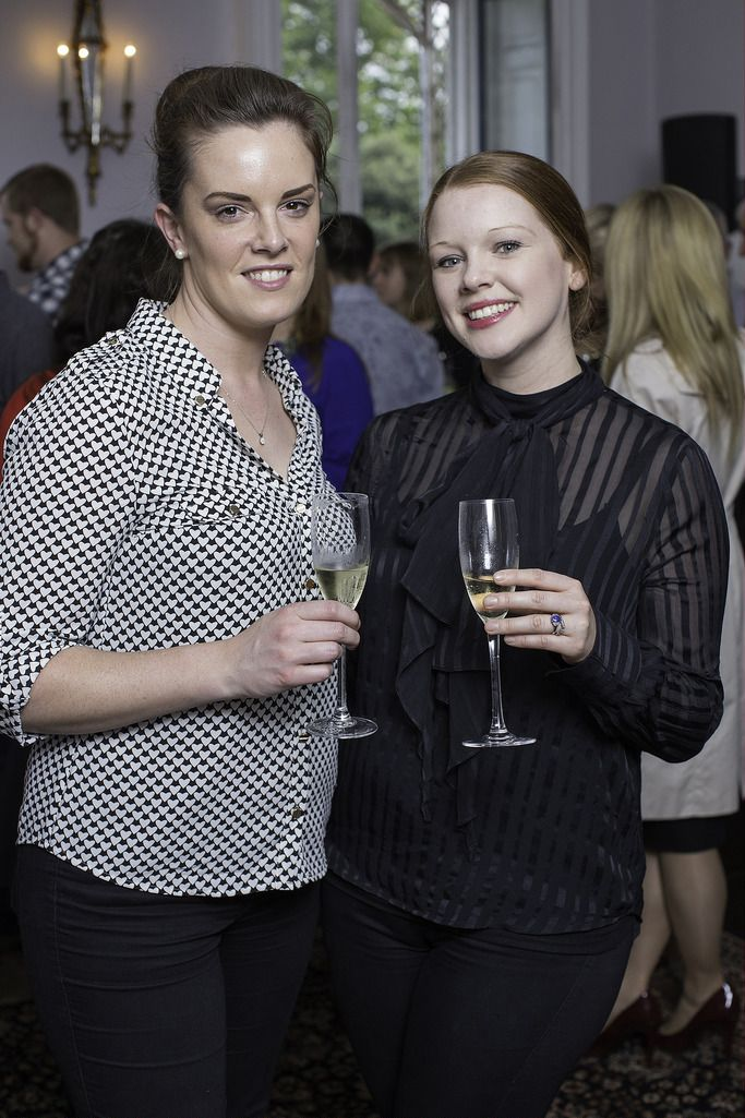 Aedamar Drummond & Aoife Kane pictured at the launch of the Cliff Town House Oyster Festival on Stephen's Green D2. Photo: Anthony Woods.