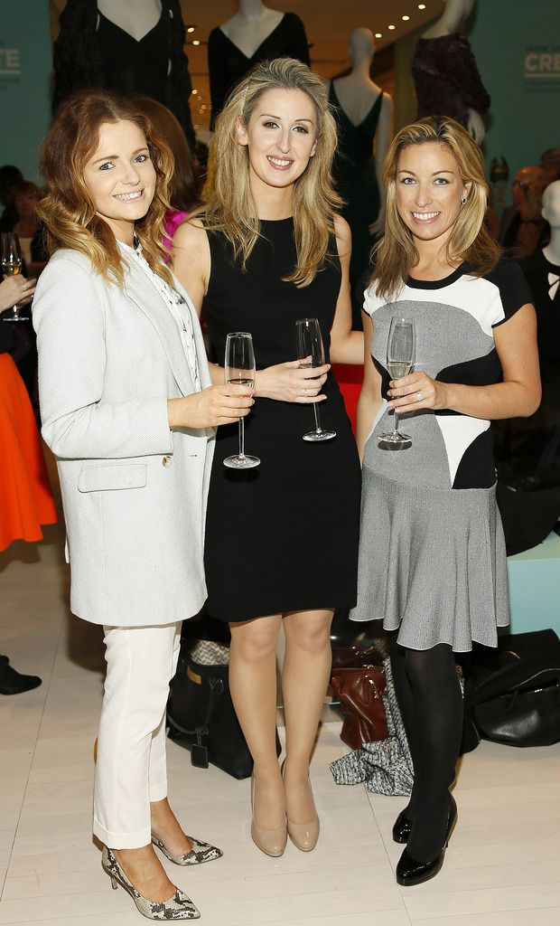Ciara Buckley, Grace Carroll and Sophie Governey at the launch of the 4th Irish Designers CREATE in Brown Thomas Dublin-photo Kieran Harnett