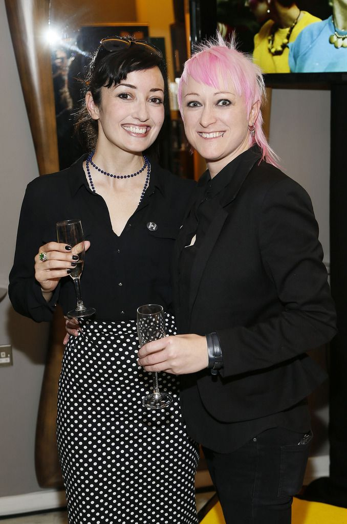 Lacy Moore and Tamar Chambers at the Robert Chambers 40th anniversary celebrations at their newly refurbished salon on Grafton Street-photo Kieran Harnett