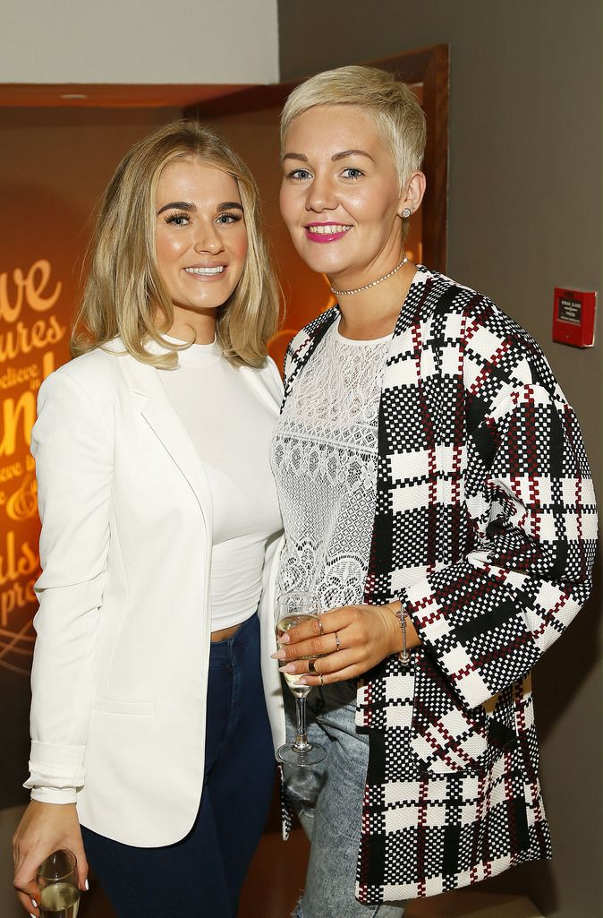 Rachel Doyle and Christina Redmond at the Robert Chambers 40th anniversary celebrations at their newly refurbished salon on Grafton Street-photo Kieran Harnett