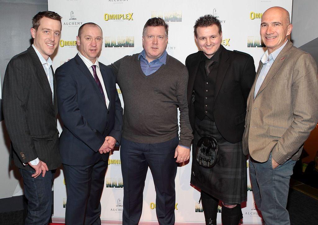 Andrew Lotbiniere ,Stuart Pearson ,Mark Anderson ,Scott Kyle and Paul Katis  at the Irish premiere screening of Kajaki at Omniplex in Rathmines Dublin.Picture:Brian McEvoy.