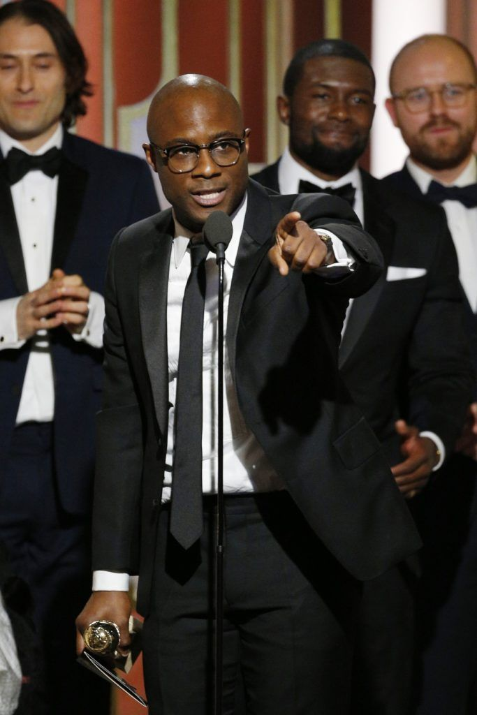 "BEVERLY HILLS, CA - JANUARY 08: In this handout photo provided by NBCUniversal, director Barry Jenkins and the cast and crew of ""Moonlight"" accept the award for Best Motion Picture - Drama for ""Moonlight"" onstage during the 74th Annual Golden Globe Awards at The Beverly Hilton Hotel on January 8, 2017 in Beverly Hills, California. (Photo by Paul Drinkwater/NBCUniversal via Getty Images)"
