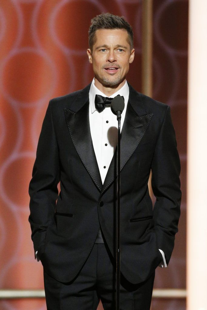 BEVERLY HILLS, CA - JANUARY 08: In this handout photo provided by NBCUniversal, presenter Brad Pitt onstage during the 74th Annual Golden Globe Awards at The Beverly Hilton Hotel on January 8, 2017 in Beverly Hills, California. (Photo by Paul Drinkwater/NBCUniversal via Getty Images)