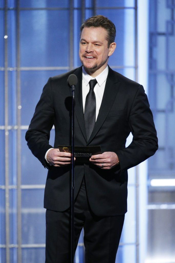 BEVERLY HILLS, CA - JANUARY 08: In this handout photo provided by NBCUniversal, presenter Matt Damon onstage during the 74th Annual Golden Globe Awards at The Beverly Hilton Hotel on January 8, 2017 in Beverly Hills, California. (Photo by Paul Drinkwater/NBCUniversal via Getty Images)