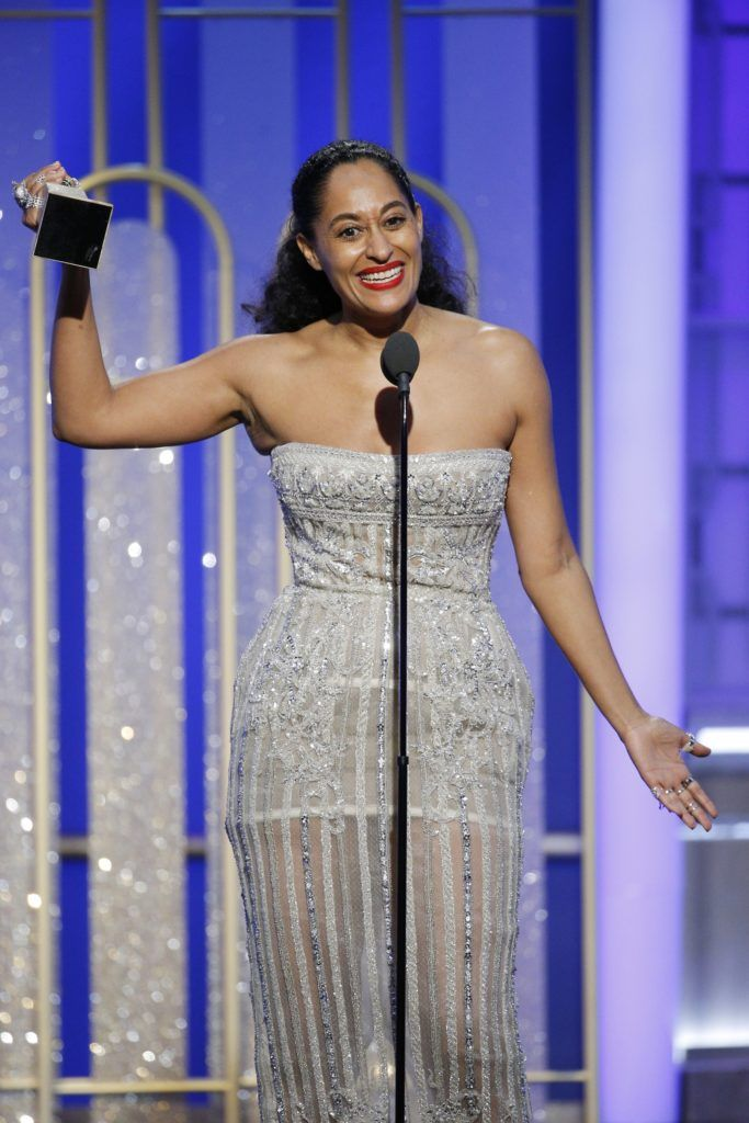 "BEVERLY HILLS, CA - JANUARY 08: In this handout photo provided by NBCUniversal, Tracee Ellis Ross accepts the award for Best Actress in a Television Series - Musical or Comedy for her role in ""Black-ish"" during the 74th Annual Golden Globe Awards at The Beverly Hilton Hotel on January 8, 2017 in Beverly Hills, California. (Photo by Paul Drinkwater/NBCUniversal via Getty Images)"