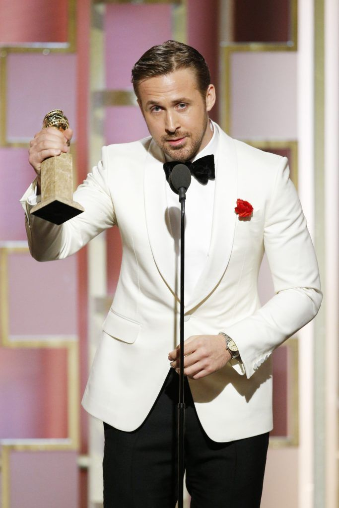 "BEVERLY HILLS, CA - JANUARY 08: In this handout photo provided by NBCUniversal, Ryan Gosling accepts the award for Best Actor in a Motion Picture - Musical or Comedy for his role in ""La La Land"" during the 74th Annual Golden Globe Awards at The Beverly Hilton Hotel on January 8, 2017 in Beverly Hills, California. (Photo by Paul Drinkwater/NBCUniversal via Getty Images)"