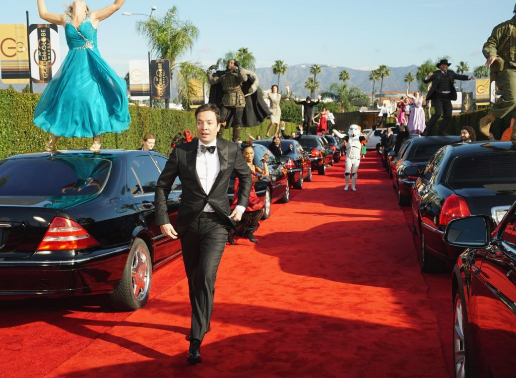BEVERLY HILLS, CA - JANUARY 08: In this handout photo provided by NBCUniversal, host Jimmy Fallon performs in the opening sequence for the 74th Annual Golden Globe Awards at The Beverly Hilton Hotel on January 8, 2017 in Beverly Hills, California. (Photo by Paul Drinkwater/NBCUniversal via Getty Images)