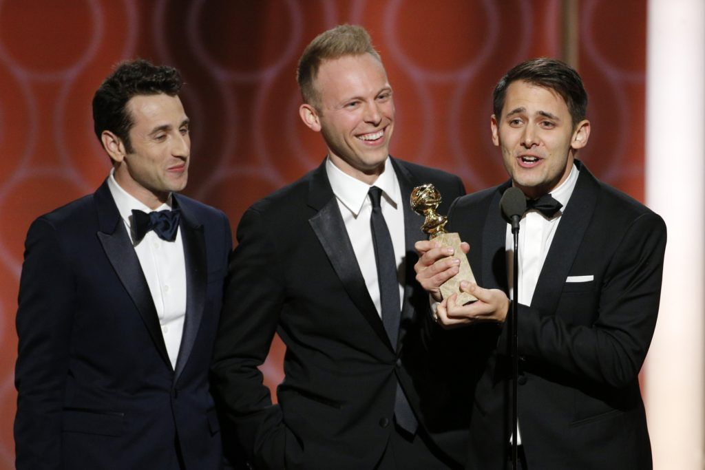"BEVERLY HILLS, CA - JANUARY 08: In this handout photo provided by NBCUniversal, (L-R) Justin Hurwitz, Benj Pasek and Justin Paul accept the award for Best Original Song- Motion Picture for ""City of Stars"" from ""La La Land"" during the 74th Annual Golden Globe Awards at The Beverly Hilton Hotel on January 8, 2017 in Beverly Hills, California. (Photo by Paul Drinkwater/NBCUniversal via Getty Images)"