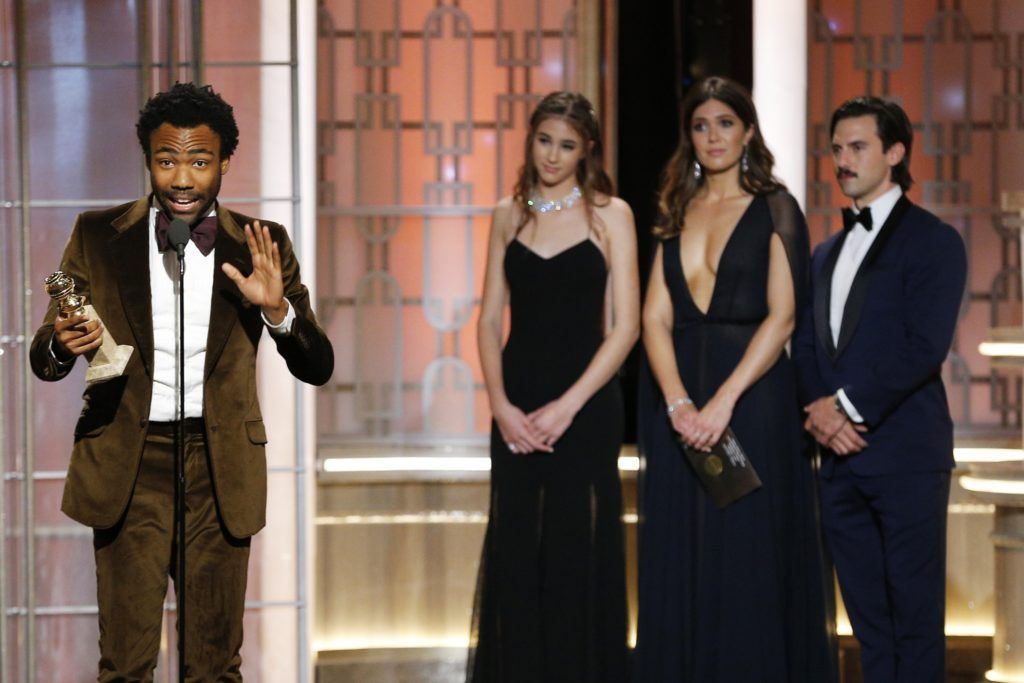"BEVERLY HILLS, CA - JANUARY 08: In this handout photo provided by NBCUniversal, Donald Glover accepts the award for Best Actor in a Television Series - Musical or Comedy for his role in ""Atlanta"" onstage during the 74th Annual Golden Globe Awards at The Beverly Hilton Hotel on January 8, 2017 in Beverly Hills, California. (Photo by Paul Drinkwater/NBCUniversal via Getty Images)"