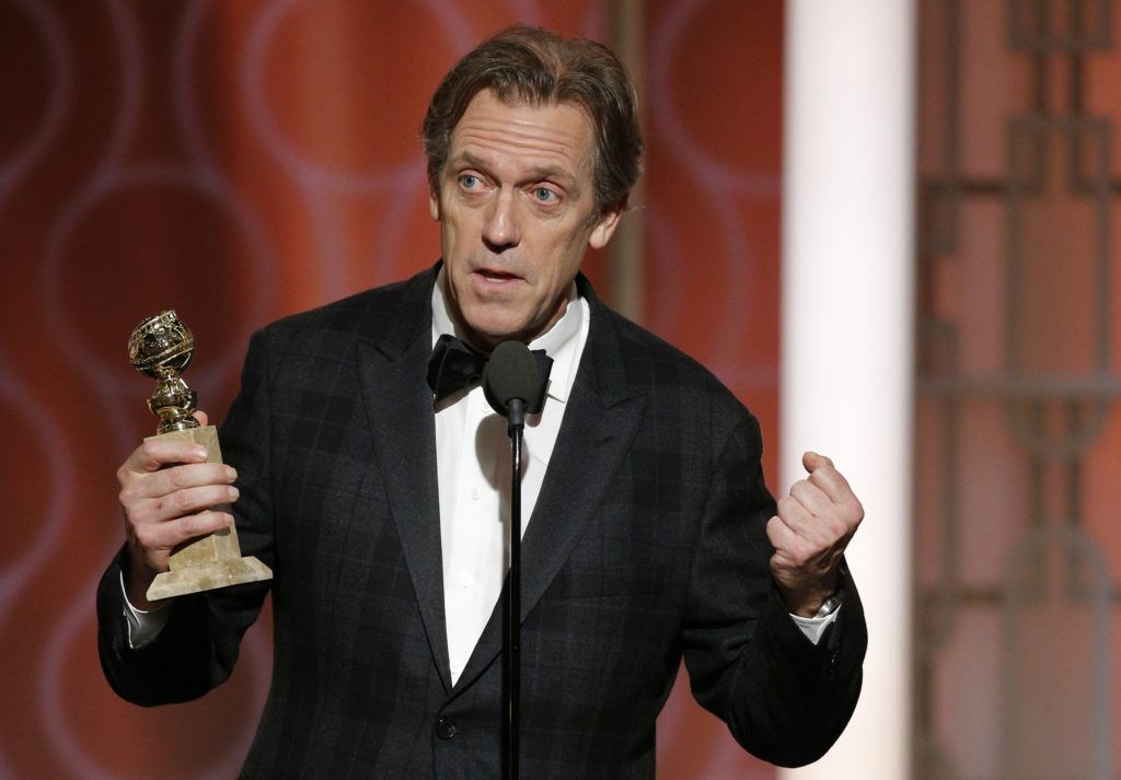 "BEVERLY HILLS, CA - JANUARY 08: In this handout photo provided by NBCUniversal, Hugh Laurie accepts the award for Best Supporting Actor in a Series/Limited Series/TV Movie for his role in ""The Night Manager"" during the 74th Annual Golden Globe Awards at The Beverly Hilton Hotel on January 8, 2017 in Beverly Hills, California. (Photo by Paul Drinkwater/NBCUniversal via Getty Images)"