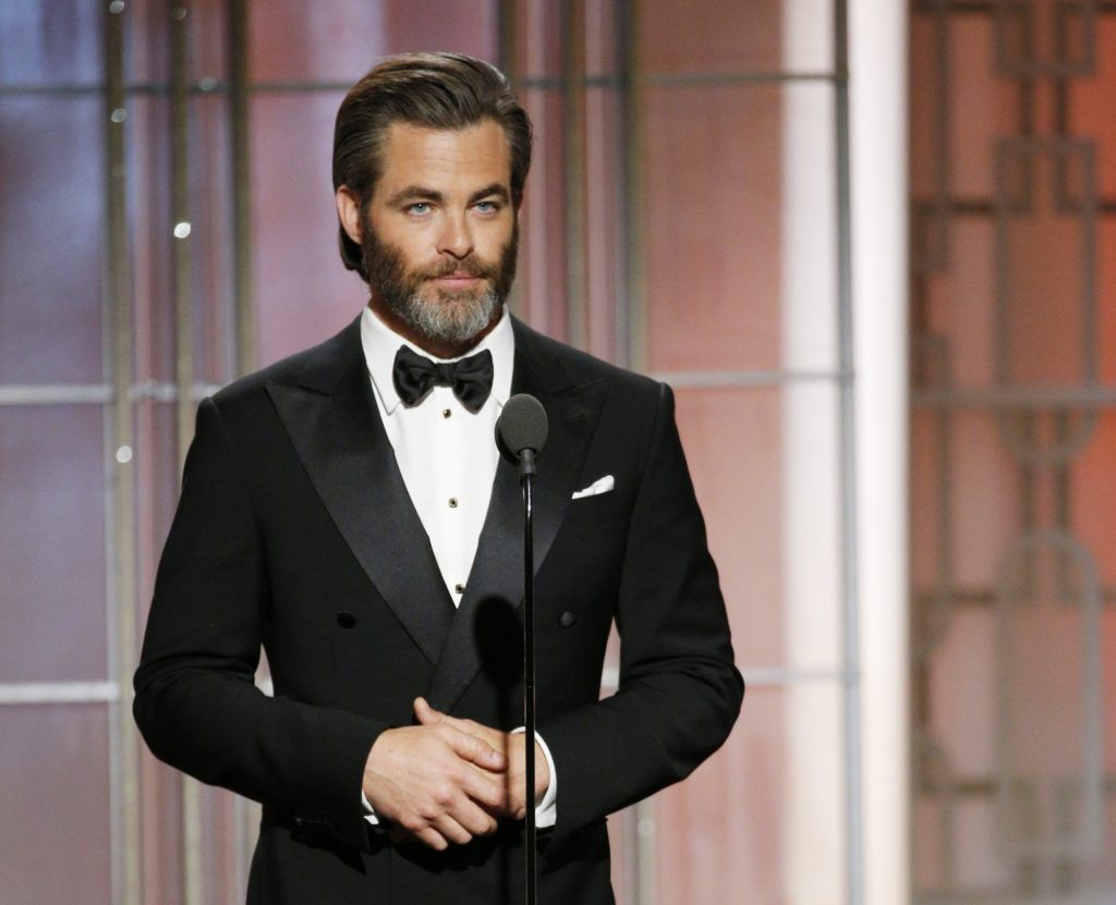 BEVERLY HILLS, CA - JANUARY 08: In this handout photo provided by NBCUniversal, presenter Chris Pine onstage during the 74th Annual Golden Globe Awards at The Beverly Hilton Hotel on January 8, 2017 in Beverly Hills, California. (Photo by Paul Drinkwater/NBCUniversal via Getty Images)