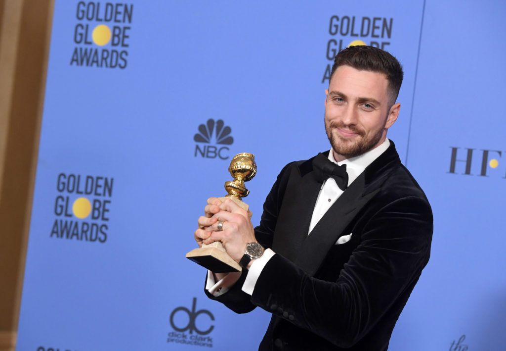 BEVERLY HILLS, CA - JANUARY 08:  Actor Aaron Taylor-Johnson, winner of Best Supporting Actor in a Motion Picture for 'Nocturnal Animals,' poses in the press room during the 74th Annual Golden Globe Awards at The Beverly Hilton Hotel on January 8, 2017 in Beverly Hills, California.  (Photo by Kevin Winter/Getty Images)