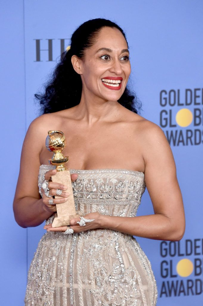 BEVERLY HILLS, CA - JANUARY 08:  Actress Tracee Ellis Ross, winner of the Best Performance by an Actress in a Television Series (Musical or Comedy) award for 'Blacklish' poses in the press room during the 74th Annual Golden Globe Awards at The Beverly Hilton Hotel on January 8, 2017 in Beverly Hills, California.  (Photo by Alberto E. Rodriguez/Getty Images)