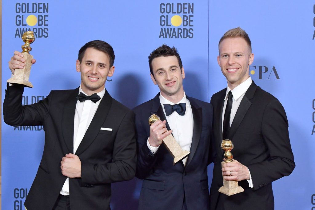BEVERLY HILLS, CA - JANUARY 08:  (L-R) Songwriters Benj Pasek, Justin Hurwitz and Justin Paul, winners of Best Original Song for 'City of Stars' from 'La La Land,' poses in the press room during the 74th Annual Golden Globe Awards at The Beverly Hilton Hotel on January 8, 2017 in Beverly Hills, California.  (Photo by Alberto E. Rodriguez/Getty Images)