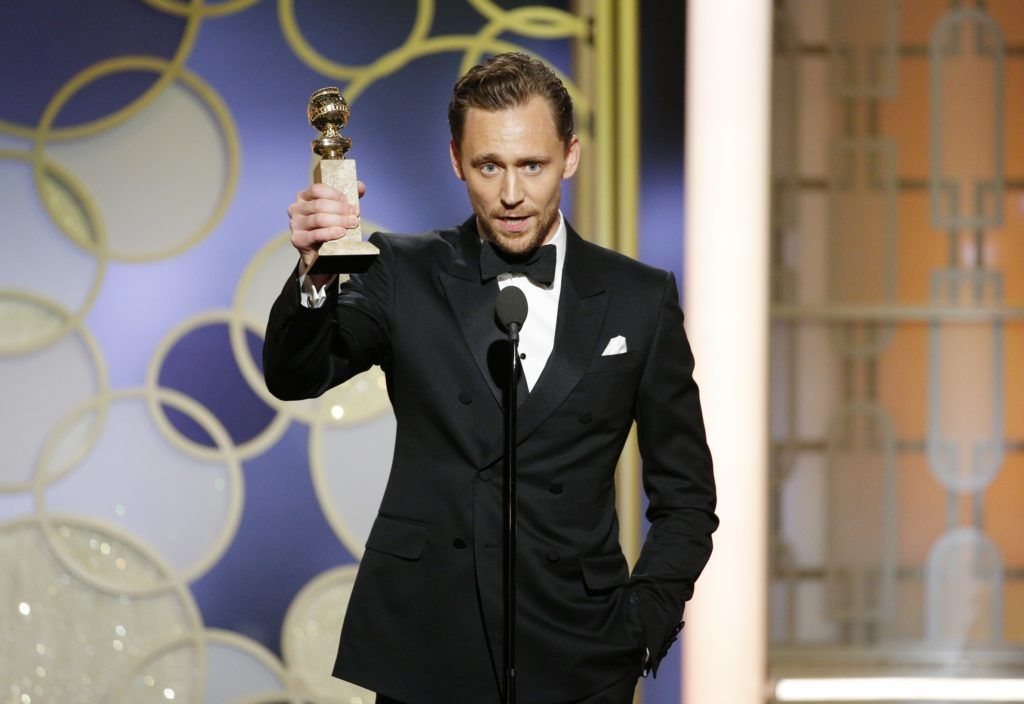 "BEVERLY HILLS, CA - JANUARY 08: In this handout photo provided by NBCUniversal, Tom Hiddleston accepts the award for Best Actor - Limited Series or Motion Picture for TV for his role in ""The Night Manager"" onstage during the 74th Annual Golden Globe Awards at The Beverly Hilton Hotel on January 8, 2017 in Beverly Hills, California. (Photo by Paul Drinkwater/NBCUniversal via Getty Images)"