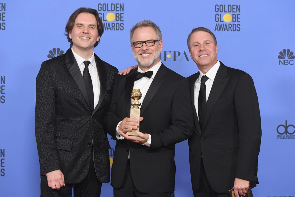 BEVERLY HILLS, CA - JANUARY 08:  (L-R) Directors Byron Howard and Rich Moore and producer Clark Spencer, winners of Best Animated Feature Film for 'Zootopia,' pose in the press room during the 74th Annual Golden Globe Awards at The Beverly Hilton Hotel on January 8, 2017 in Beverly Hills, California.  (Photo by Kevin Winter/Getty Images)