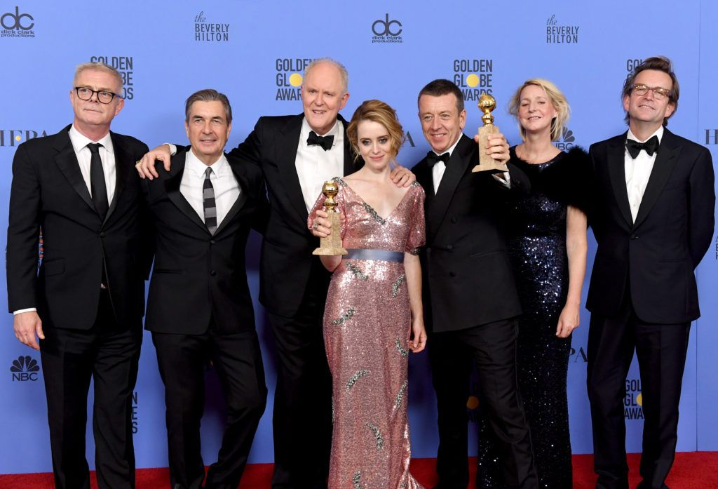 BEVERLY HILLS, CA - JANUARY 08:  (L-R) Cast and crew of 'The Crown,' winner of Best Series - Drama, pose in the press room during the 74th Annual Golden Globe Awards at The Beverly Hilton Hotel on January 8, 2017 in Beverly Hills, California.  (Photo by Kevin Winter/Getty Images)