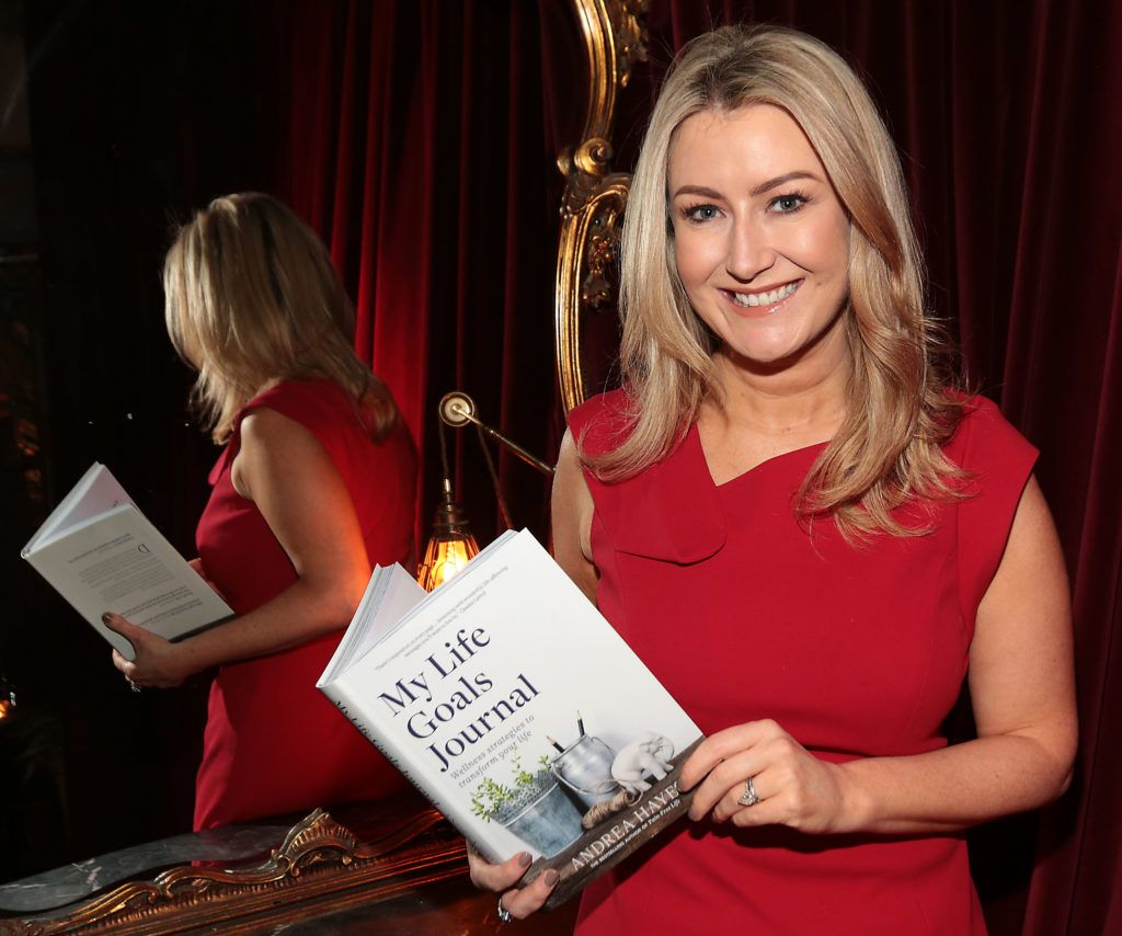 Andrea Hayes at the launch of Andrea Hayes's book My Life Goals Journal at Farrier and Draper, Dublin. Picture: Brian McEvoy.